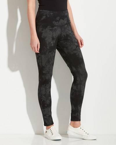 Tie Dye Full Length Athleisure Leggings in Grey and Black