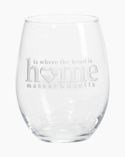 Massachusetts Home is Where the Heart is Stemless Wine Glass