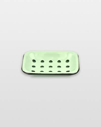 Farmhouse Green Enameled Metal Soap Dish