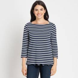 Crescent Navy Striped Scalloped Hem Top
