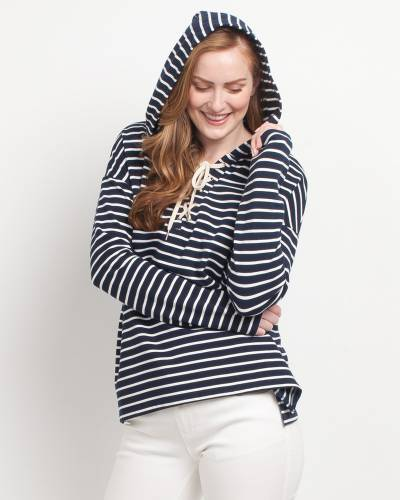 b664ef8f76 Mia + Tess Designs ™ Exclusive Striped Cross-Neck Hoodie in Navy