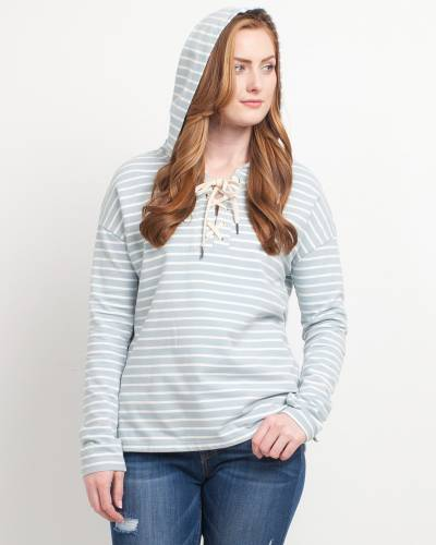 Exclusive Striped Cross-Neck Hoodie in Mint
