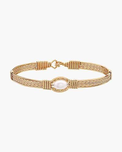 The Wide Pearl of My Heart Bracelet in 14k Gold Artist Wire