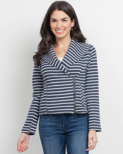 Exclusive Navy Zip-Up Jacket with White Stripes
