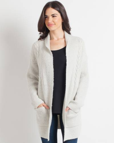 Exclusive Grey Cable-Knit Cardigan