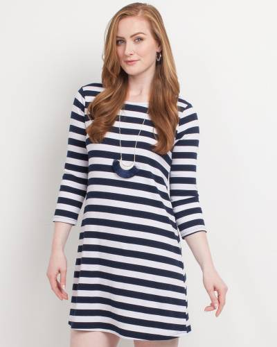 Exclusive Half-Sleeve Tie-Back Striped Dress