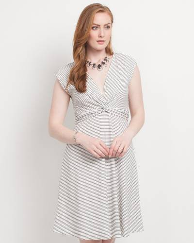 Exclusive Knot Front Dress in Navy and Off-White Stripes