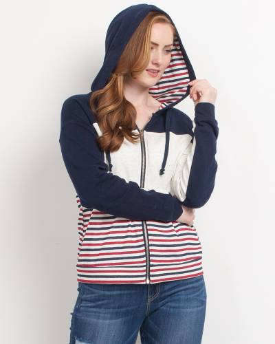 Exclusive Striped Hoodie in White, Navy, and Red