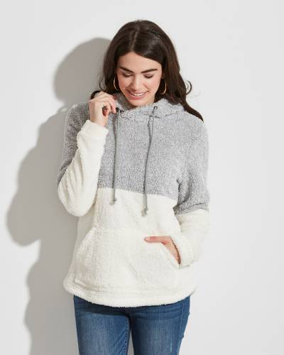 Exclusive Fuzzy Colorblock Hoodie in Silver and White