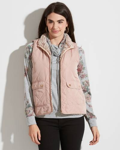 Exclusive Quilted Winter Vest in Light Pink