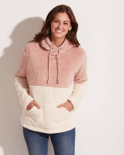 Exclusive Fuzzy Colorblock Hoodie in Mauve and White