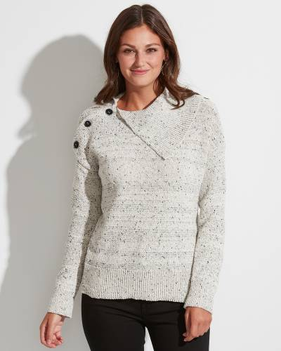 Exclusive Button Shoulder Sweater in Speckled Ivory and Grey
