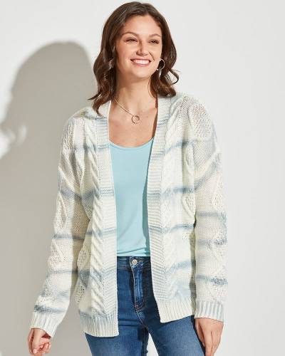 Knit Stripe Cardigan in Ivory and Blue