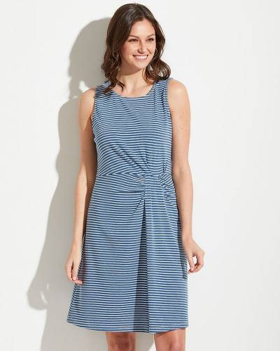 Exclusive Knot Waist Blue Stripe Dress