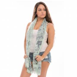 Jasmine Trading Corp. Elephant Print Scarf in Navy and Mint