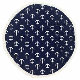 Jasmine Trading Corp. Navy Blue Anchors Round Beach Towel