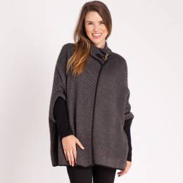 Janice Houndstooth Buckle Poncho