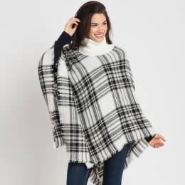 Jasmine Trading Corp. Plaid Poncho in White