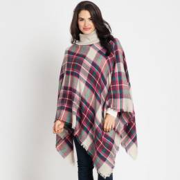 Jasmine Trading Corp. Plaid Poncho in Wine