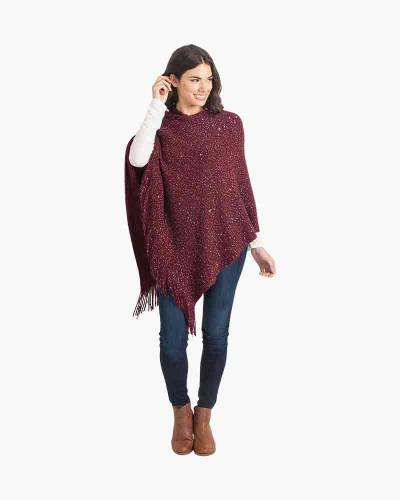 Sequin Poncho in Burgundy