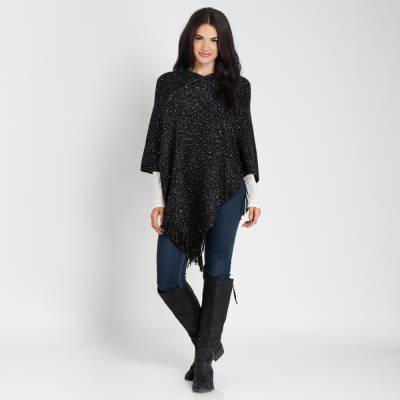 Sequin Poncho in Black