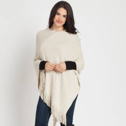 Jasmine Trading Corp. Lurex Poncho in Ivory