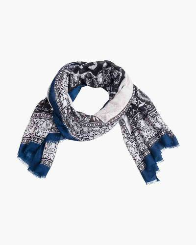 Exclusive Paisley-Border Scarf in Navy