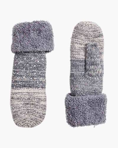 Heathered Nordic Sequin Mittens in Ivory