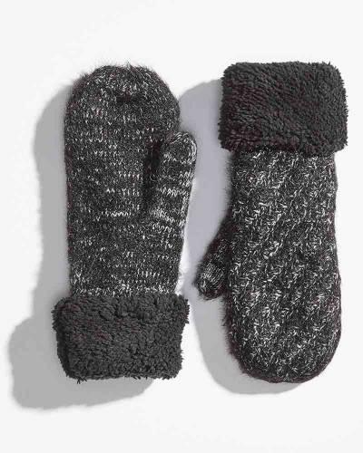 Heathered Fuzzy Cuff Mittens in Black