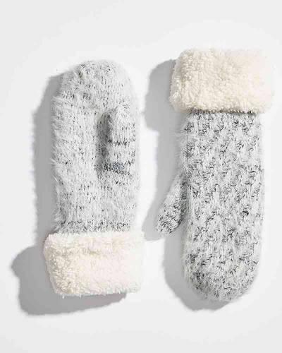 Heathered Fuzzy Cuff Mittens in White