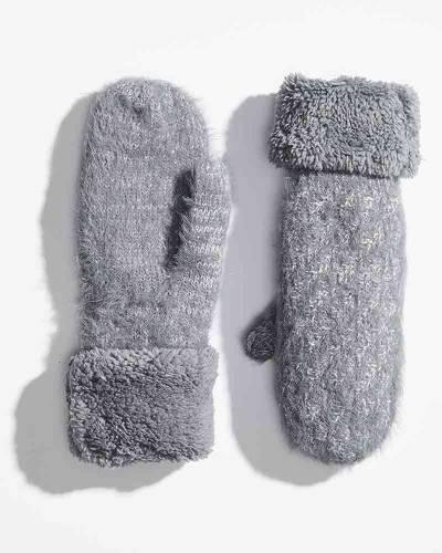 Heathered Fuzzy Cuff Mittens in Grey