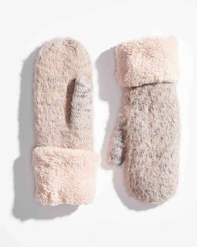 Heathered Fuzzy Cuff Mittens in Pink
