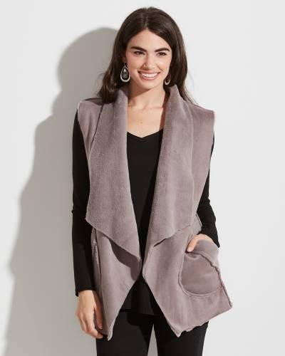 Grey Suede Cardigan Vest
