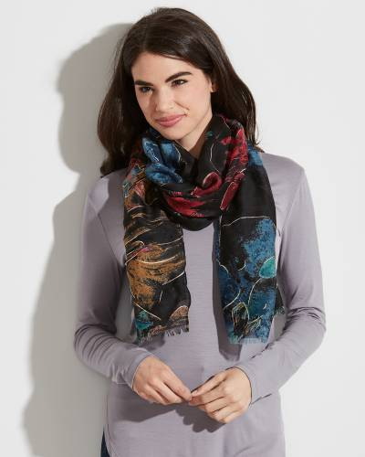 Floral Print Scarf in Black, Blue and Red