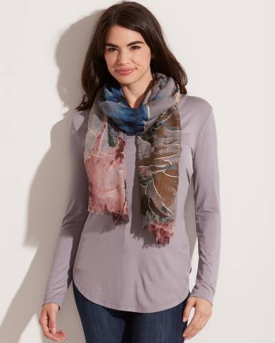 Floral Print Scarf in Grey, Pink, and Green