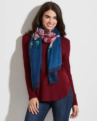 Floral Print Solid-Border Scarf in Navy