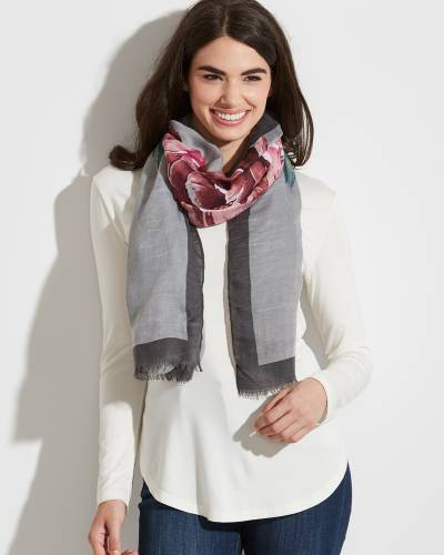 Floral Print Solid-Border Scarf in Grey