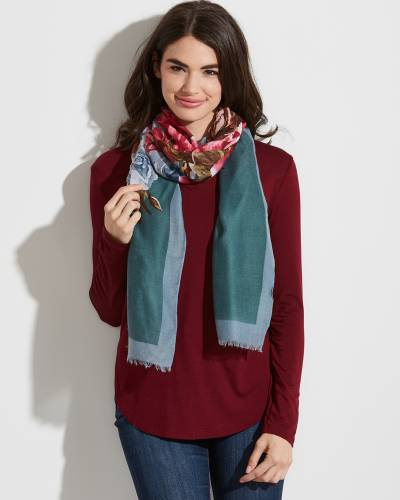 Floral Print Solid-Border Scarf in Teal