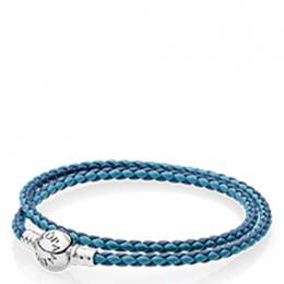 Pandora Braided Leather Charm Bracelet in Blue