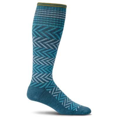 Women's Chevron Compression Socks in Teal