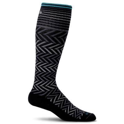 Women's Chevron Compression Socks in Black