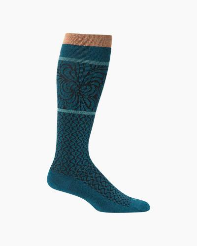 Women's Art Deco Compression Socks in Teal
