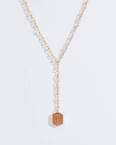 Exclusive Short Hexagon Pendant Necklace in Gold