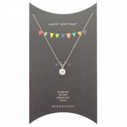 Wishbonne Happy Birthday Solitaire Pendant Necklace