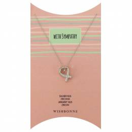 Wishbonne With Sympathy Heart Ribbon Pendant Necklace