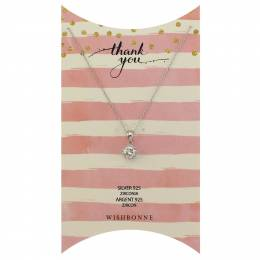 Wishbonne Thank You Solitaire Pendant Necklace