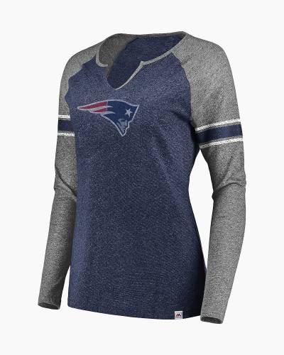 New England Patriots Women's Static Notch Neck Long Sleeve Raglan Tee