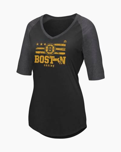 Women's Boston Bruins My Team Raglan Half-Sleeve T-Shirt