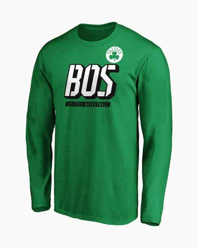 Men's Boston Celtics Iconic Tricode Logo Long Sleeve Tee