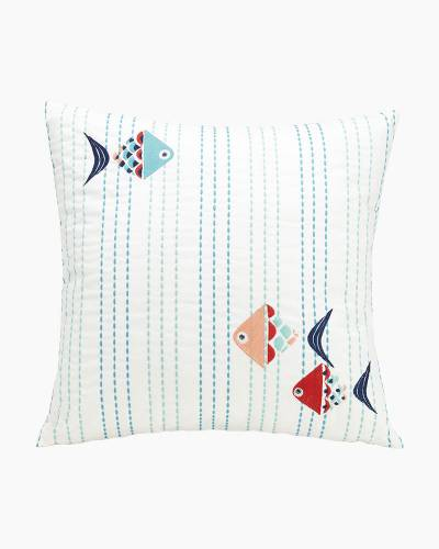 Go Fish Embroidered Ribbon Pillow (Square)